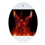 Phoenix fire bird Oval Ornaments
