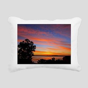 Sunset Red Rectangular Canvas Pillow