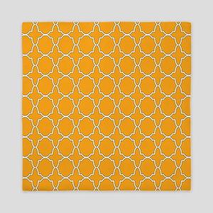 Orange Quatrefoil Pattern Queen Duvet
