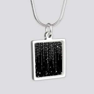 STAR SHOWER Silver Square Necklace