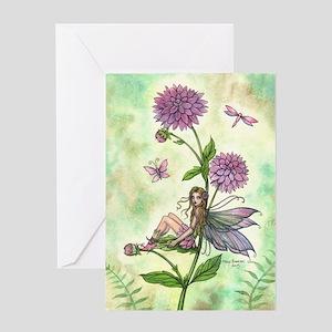 Dahlia Flower Fairy Greeting Cards