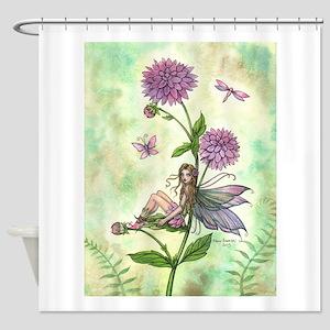 Dahlia Flower Fairy Shower Curtain