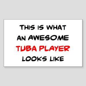 awesome tuba player Sticker (Rectangle)