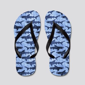 Sharks in the Blue Sea Flip Flops