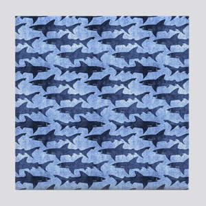 Sharks in the Blue Sea Tile Coaster