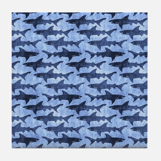 Sharks in the Blue Sea Tile Coaster