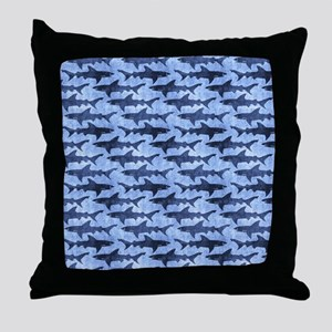 Sharks in the Blue Sea Throw Pillow
