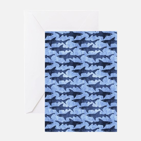 Sharks in the Blue Sea Greeting Cards