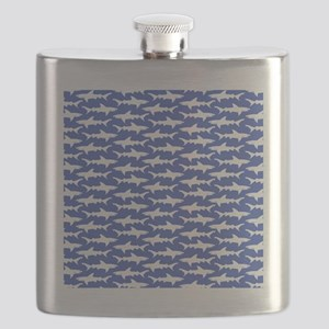 School of Sharks Blue and White Flask