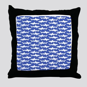 School of Sharks Blue and White Throw Pillow