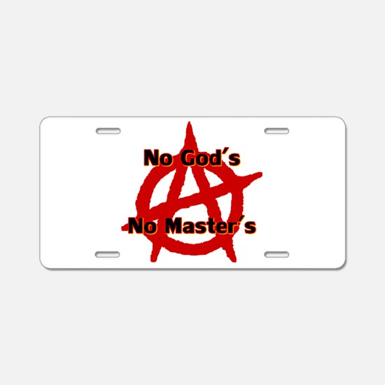 Anarchy No Gods No Masters Aluminum License Plate