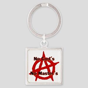 Anarchy No Gods Masters Square Keychain Keychains