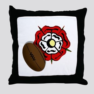 England Rose Rugby Throw Pillow