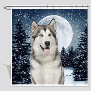 Winter Moon Husky Shower Curtain