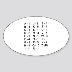 Scrabble Tile Points Oval Sticker