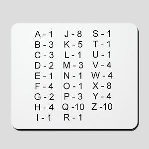 Scrabble Tile Points Mousepad