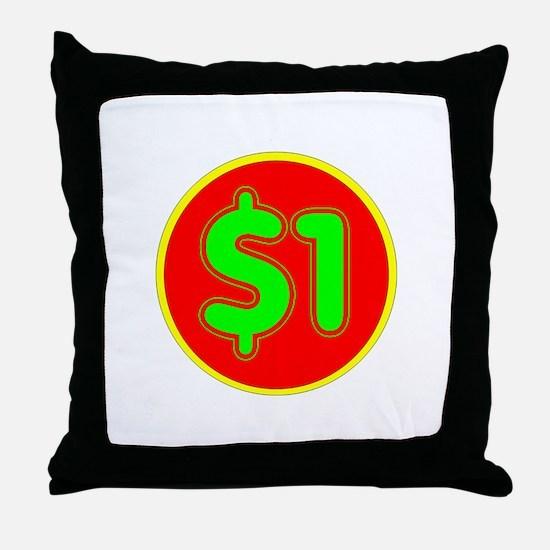 PRICE TAG LABEL - $1 - ONE DOLLAR Throw Pillow