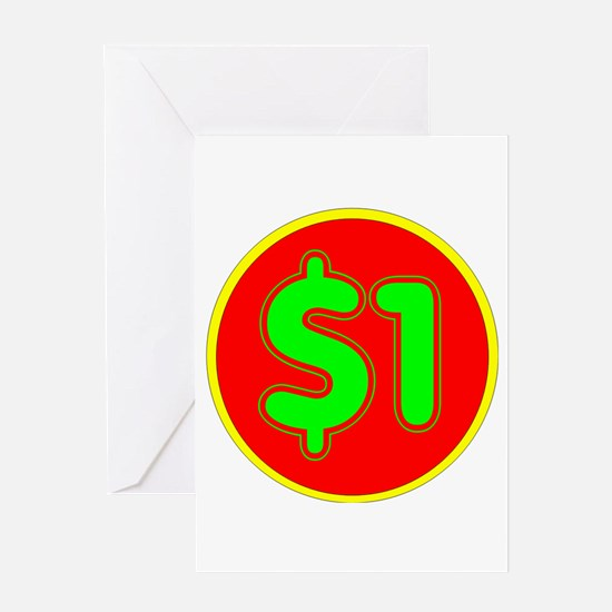 PRICE TAG LABEL - $1 - ONE DOLLAR Greeting Cards