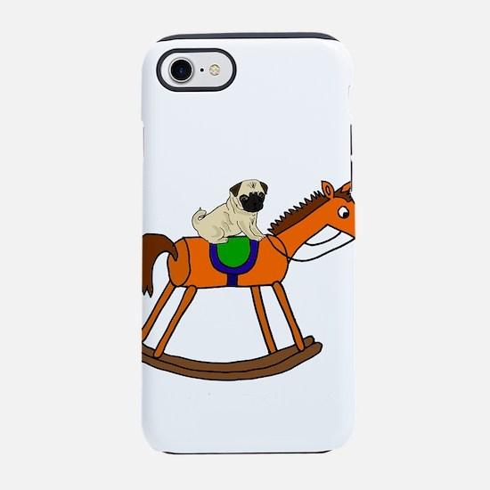 Cute Pug Riding Rocking Hors iPhone 8/7 Tough Case