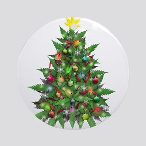 Marijuana Christmas Tree Round Ornament