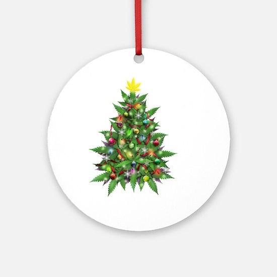 Marijuana Christmas Tree Round Ornament