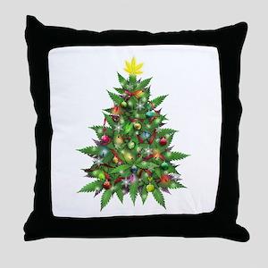 Marijuana Christmas Tree Throw Pillow