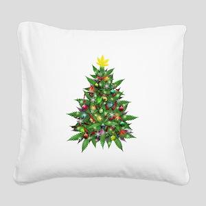 Marijuana Christmas Tree Square Canvas Pillow