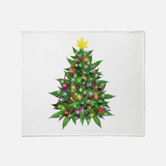 Marijuana Christmas Tree Throw Blanket