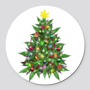 Marijuana Christmas Tree Round Car Magnet