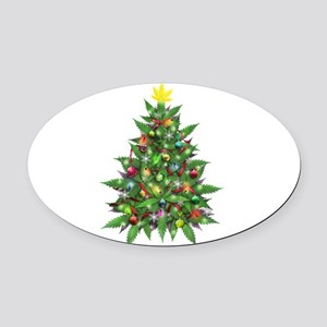 Marijuana Christmas Tree Oval Car Magnet