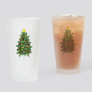 Marijuana Christmas Tree Drinking Glass