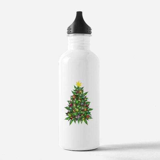 Marijuana Christmas Tree Water Bottle