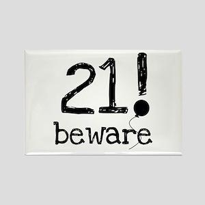 21 Beware Rectangle Magnet