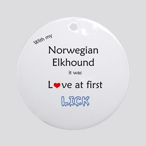 Elkhound Lick Ornament (Round)