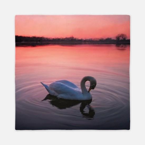 Swan on the lake Queen Duvet
