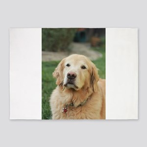 Nala in front of lawn golden retrie 5'x7'Area Rug