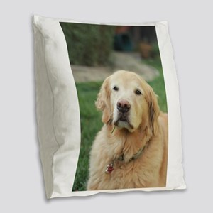 Nala in front of lawn golden r Burlap Throw Pillow
