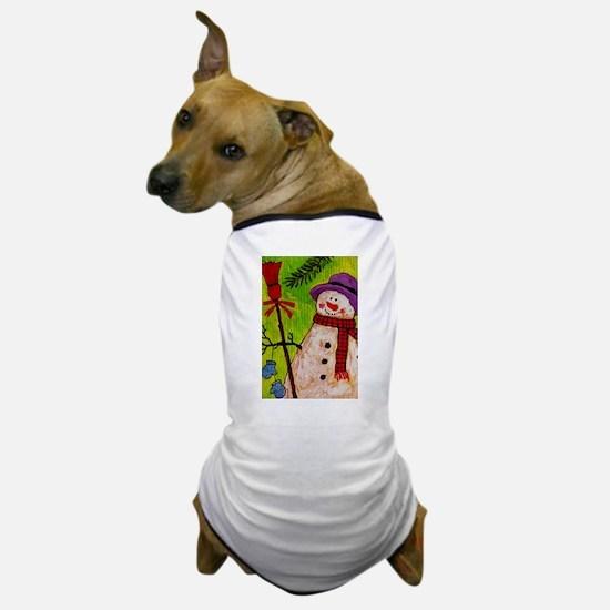 Snowman with Broom Dog T-Shirt
