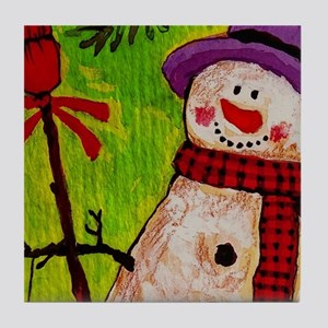 Snowman with Broom Tile Coaster