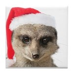 Santa Meerkat Tile Coaster