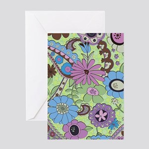 Colorful Retro Flowers And Paisley Greeting Cards