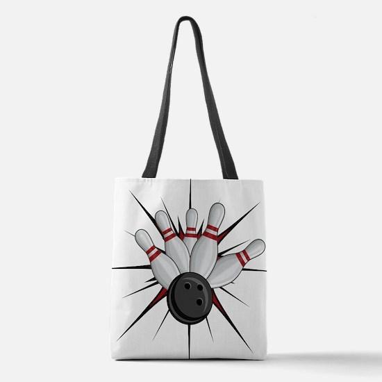 Bowling Strike Polyester Tote Bag