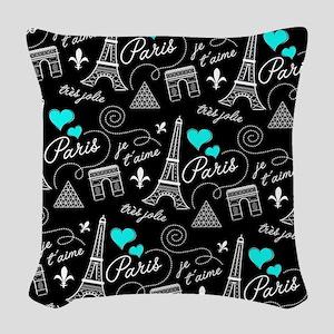 Paris je t'aime pattern Woven Throw Pillow