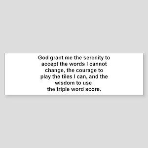 Scrabble Serenity Prayer Bumper Sticker
