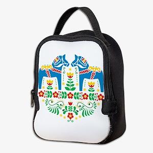 Swedish Dala Horse Neoprene Lunch Bag