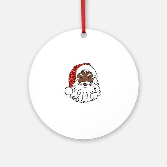 black santa claus Round Ornament