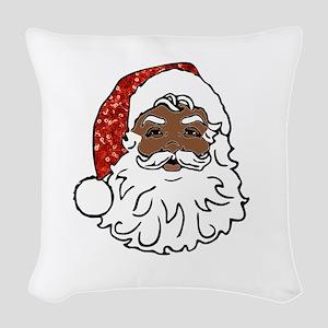 black santa claus Woven Throw Pillow