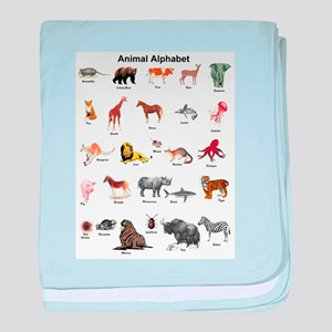 Animal pictures alphabet baby blanket