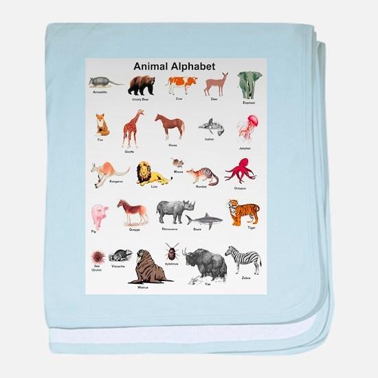 Animal pictures alphabet baby blanket