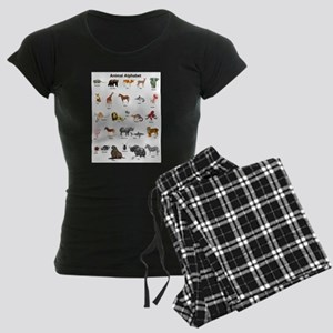 Animal pictures alphabet Women's Dark Pajamas